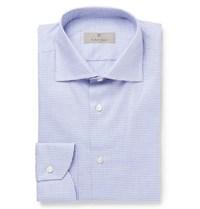Canali Blue Gingham Cotton Poplin Shirt Blue