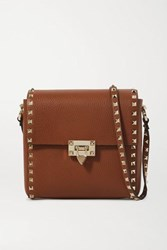 Valentino Garavani Rockstud Small Textured Leather Shoulder Bag Brown
