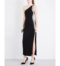 Balmain One Shoulder Stretch Knit Midi Dress Black Cristal
