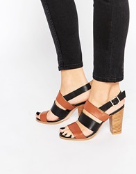 Warehouse Leather Colourblock Heeled Sandals Tanblack