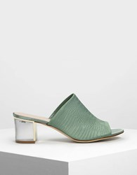 Charles And Keith Embossed Fabric Mules Green