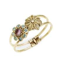 Gerard Yosca Floral Hinged Bangle Bracelet No Color