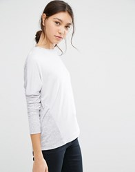 Asos Linen Mix T Shirt With Long Sleeves Grey Marl