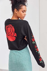 Urban Outfitters Rose Cropped Long Sleeve Tee Black