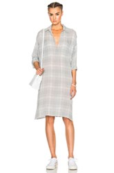 James Perse Plaid Oversize Shirt Dress In Gray Checkered And Plaid Gray Checkered And Plaid