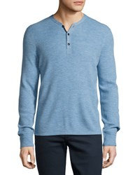 Rag And Bone Gregory Thermal Henley T Shirt Blue