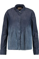 Current Elliott The Lucy Tuck Denim Shirt Dark Denim