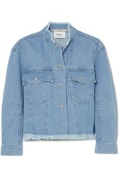 Nanushka Cyphre Frayed Denim Jacket Blue