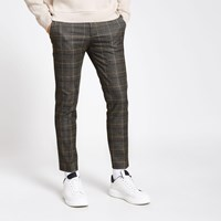 River Island Dark Grey Check Super Skinny Trousers