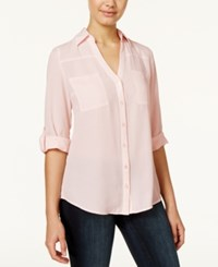 Amy Byer Bcx Juniors' Roll Tab Blouse Pink