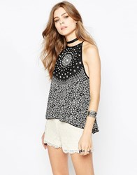 Band Of Gypsies Cami Top In Mono Print Black And Cream