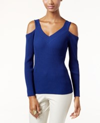 Inc International Concepts V Neck Cold Shoulder Sweater Only At Macy's Tartan Blue
