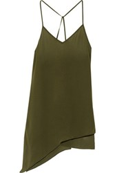 Haute Hippie Asymmetric Silk Camisole Army Green