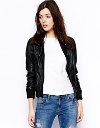 Barney's Originals Barneys Sonia Hooded Leather Bomber Jacket Black