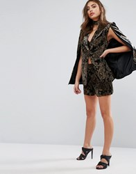 Missguided Exclusive Paisley Velvet Shorts Co Ord Black