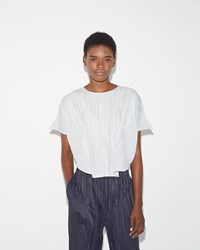 Pleats Please Kasuri Stripe Top White