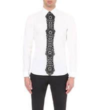 Burberry Regular Fit Lace Panel Cotton Shirt White