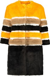 Ainea Grosgrain Paneled Faux Fur Coat Yellow