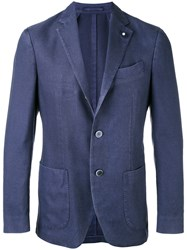 Lardini Notched Lapel Blazer Men Silk Polyester Cashmere Wool 54 Blue