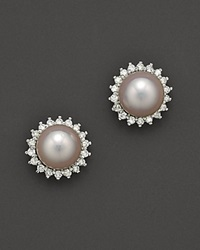 Bloomingdale's Cultured Akoya Pearl Stud Earrings With Diamonds In 14K White Gold 6.5Mm No Color