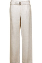 Brunello Cucinelli Belted Faille Wide Leg Pants Off White