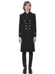Saint Laurent Double Breasted Wool Blend Military Coat