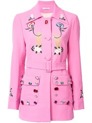 Vivetta Embellished Belted Jacket Pink Purple
