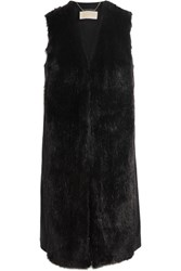Michael Michael Kors Faux Fur And Wool Blend Vest Black