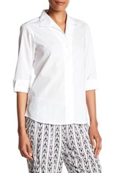 Foxcroft 3 4 Length Sleeve Shaped Fit Shirt White