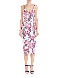Tanya Taylor Textured Garden Print Dress White Hibiscus