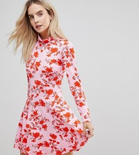 Asos Petite Polo Neck Mini Dress With Godets In Floral Print Pink
