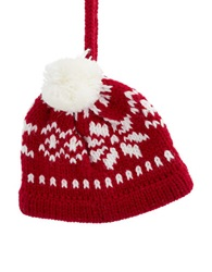 Lord And Taylor Fair Isle Knit Hat Ornament Red