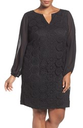 Adrianna Papell Plus Size Women's Slit Sleeve Lace Shift Dress