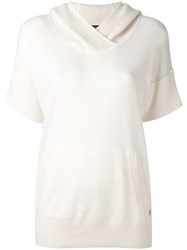 Loro Piana Shortsleeved Hooded Jumper Women Silk Linen Flax Cashmere 44 White