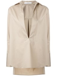 Astraet Deep V Neck Shirt Nude Neutrals