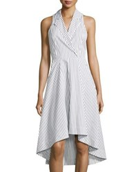 Marled By Reunited Clothing High Low Striped Poplin Dress Black White