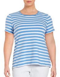 Lord And Taylor Plus Roundneck Short Sleeve Striped Tee Light Peri