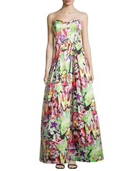 Milly Strapless Graffiti Ball Gown Multi
