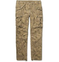 Rrl Miller Camouflage Print Cotton Blend Cargo Trousers Brown
