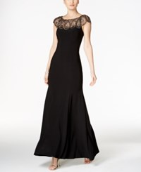 Xscape Evenings Petite Beaded Cap Sleeve Gown Black
