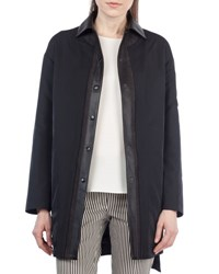 Akris Punto Reversible Leather Trim Coat Black