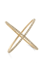 Ef Collection Pave Gold Diamond X Ring Yellow Gold Clear