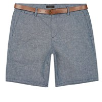 River Island Mens Light Blue Slim Fit Belted Bermuda Shorts
