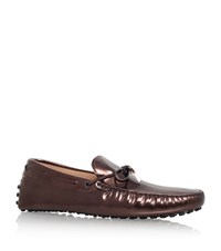 Tod's Metallic Tie Driver Shoes Male Bronze
