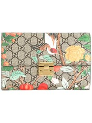 Gucci Padlock Gg Blooms Pouch Wallet Brown