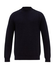 Altea Cable Knit Wool Sweater Navy