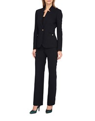 Tahari By Arthur S. Levine Starneck One Button Jacket Pant Suit Navy