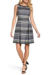 Adrianna Papell Women's Herringbone Stripe Fit And Flare Dress Navy Black Multi