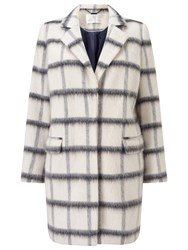 Jacques Vert Oversized Check Coat Multi White