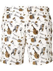 Dolce And Gabbana Jazz Club Print Swimming Trunks White